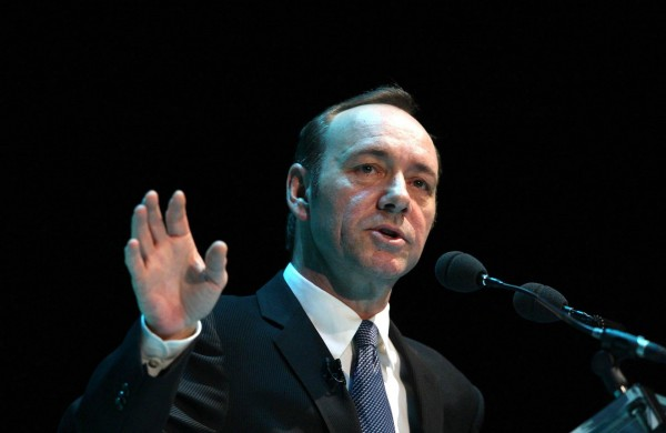 Kevin Spacey speaks at a convention