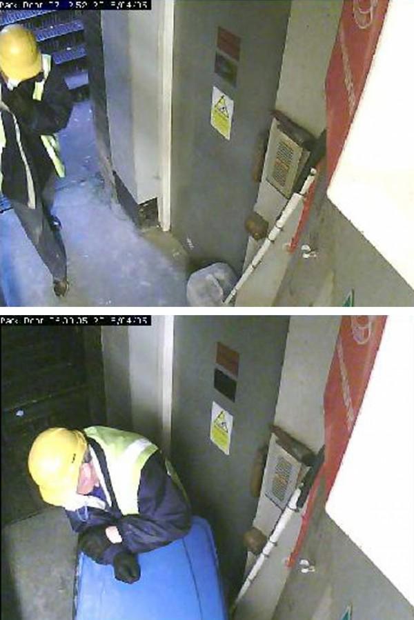 A still from Hatton Garden CCTV showing a man in a hard hat