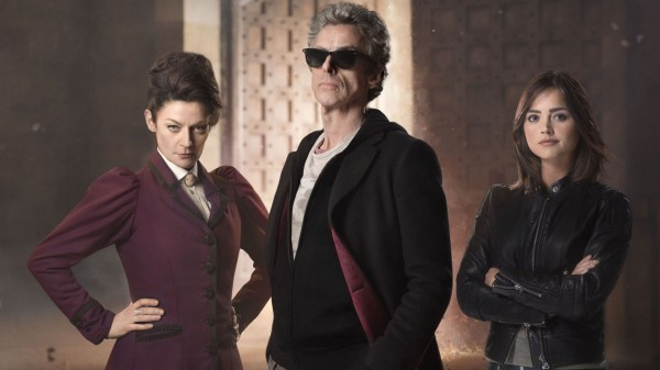 Peter Capaldi with Michelle Gomez and Jenna Coleman