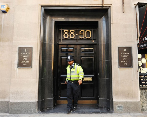 A general view of the scene at Hatton Garden Safe Deposit company, in London
