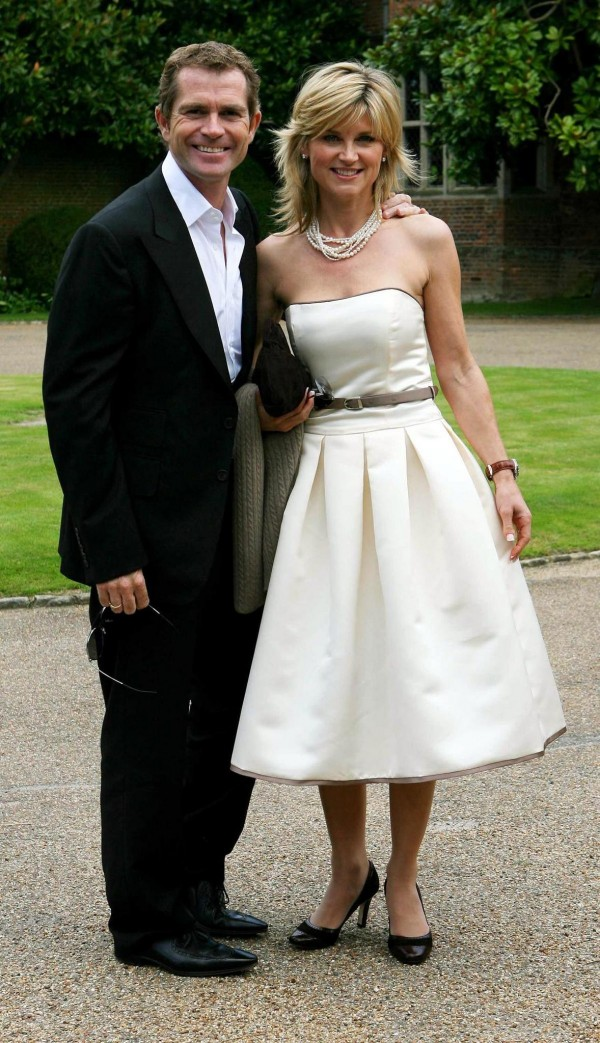 Grant Bovey and Anthea Turner arriving at the wedding of Russ Lindsay and Sally Meen at the Great Fosters Hotel in Egham, Surrey