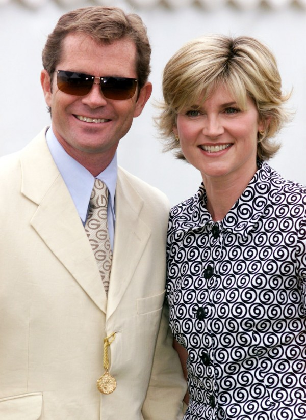 TV presenter Anthea Turner with her husband Grant Bovey at Cowdrey Park for the Veuve Clicquot Gold Cup