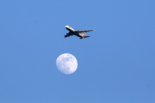 A British Airways plane flies over head