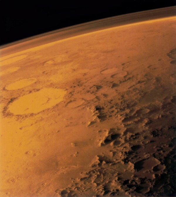 Image of Mars taken by Viking Orbiter 1 showing its thin atmosphere.