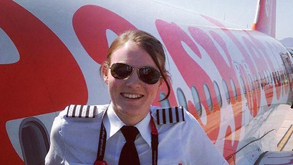 (easy Jet/PA) Kate McWilliams stands infront of an easy jet plane