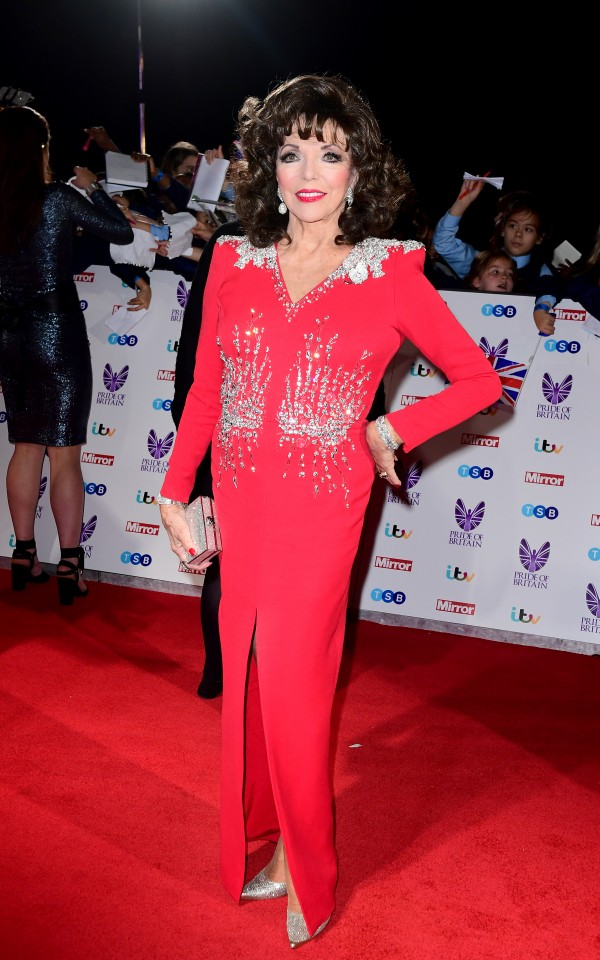 Dame Joan Collins attending The Pride of Britain Awards 2016, at Grosvenor House, Park Lane, London.