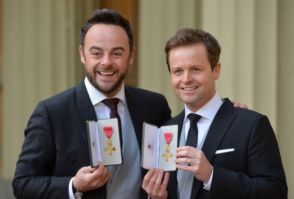 TV presenters Ant and Dec after they were presented with OBEs by the Prince of Wales during an investiture ceremony at Buckingham Palace, London. Photo credit should read: John Stillwell/PA Wire