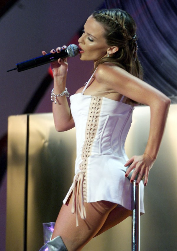 Singer Kylie Minogue performing at The Brit Awards 2002, at London's Earls Court.