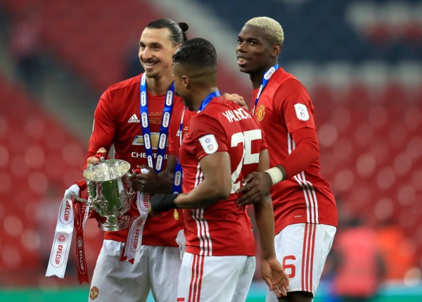 Zlatan Ibrahimovic and Paul Pogba after the EFL Cup final