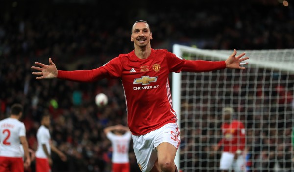Zlatan Ibrahimovic celebrates scoring for Manchester United
