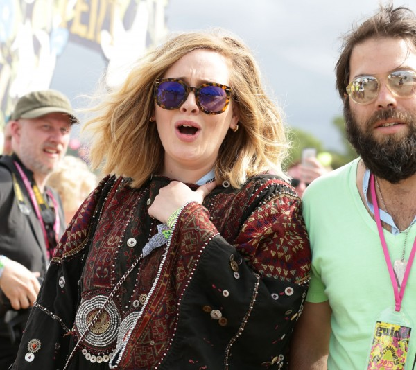 Adele and Simon Konecki at Glastonbury in 2015 (Yui Mok/PA)