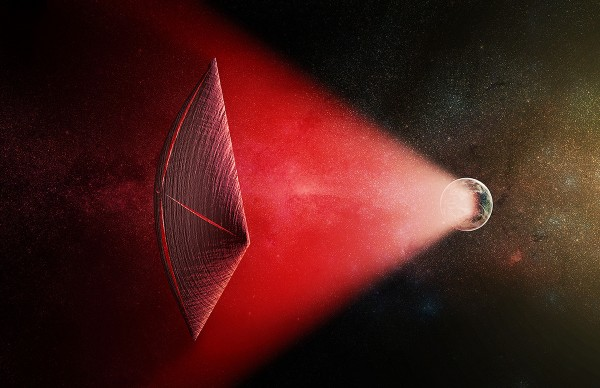 An artist's impression of the radio-beam (in red) powered light sail that could be causing fast radio bursts (M. Weiss/CfA)