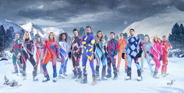 (left to right) Gareth Thomas, Caprice Bourret, Jade Jones MBE, Lydia Bright, Kadeena Cox MBE, Spencer Mathews, Sir Bradley Wiggins, Vogue Williams, Robbie Fowler, Mark Dolan, Louis Smith, Emma Parker-Bowles, Josie Gibson and Jason Robinson OBE, the contestants in this year's Channel 4 reality sport show, The Jump.