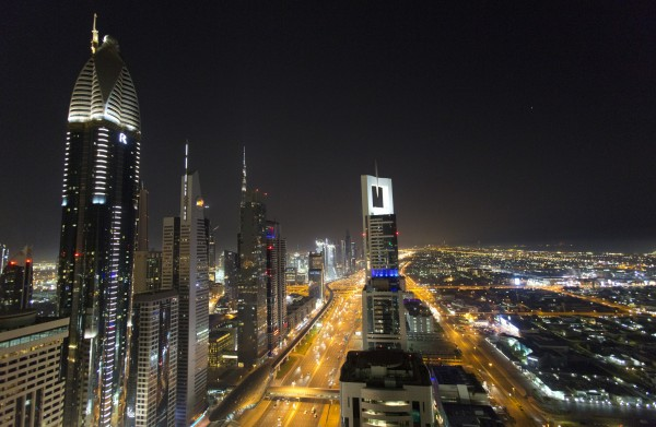 A view of the skyline at night of downtown Dubai (Yui Mok/PA)