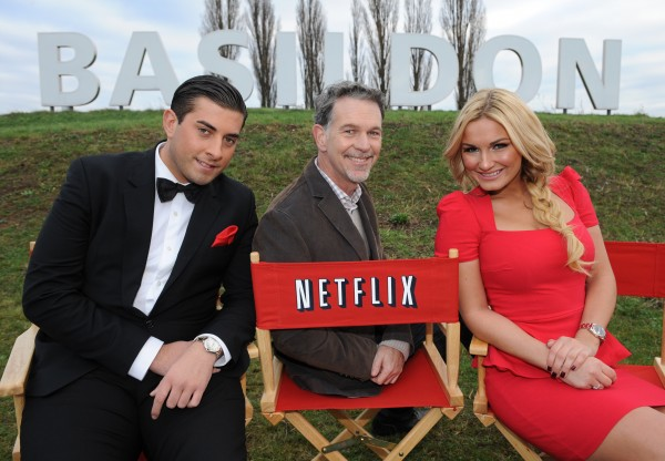 "Netflix co-founder Reed Hastings (centre) with James ""Arg"" Argent and Sam Faiers from The Only Way Is Essex at the launch of Netflix in the UK in 2012"