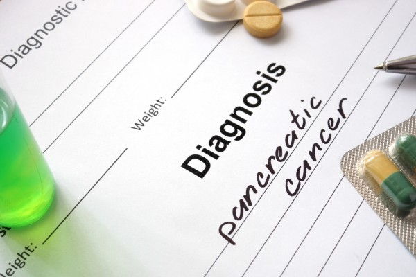 Diagnosis pancreatic cancer written in the diagnostic form and pills.
