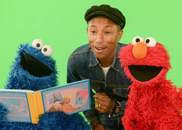 Pharrell with Cookie Monster and Elmo