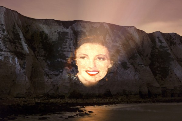 Dame Vera Lynn portrait projected onto the White Cliffs of Dover (Decca Records/Press Association images)