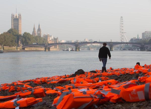 Life jackets on a beach