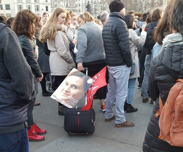Jan's bag, with a poster of Jo Cox