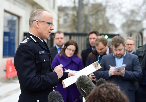 Mark Rowley, Acting Deputy Commissioner of the Metropolitan Police, speaks to the media outside New Scotland Yard in London, as arrests connected to the Westminster terror attack were made across the country (Lauren Hurley/PA).