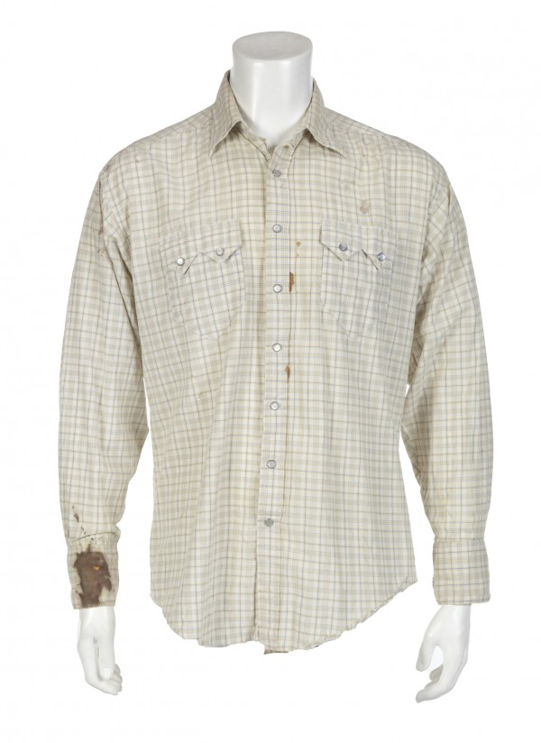 Heath Ledger's 'bloodied' shirt from Brokeback Mountain (Julien's Auctions)