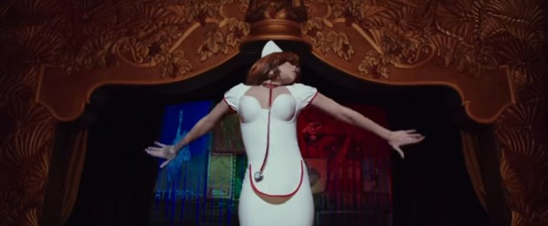 Rihanna transforms into a white outfit in the trailer (Lionsgate)