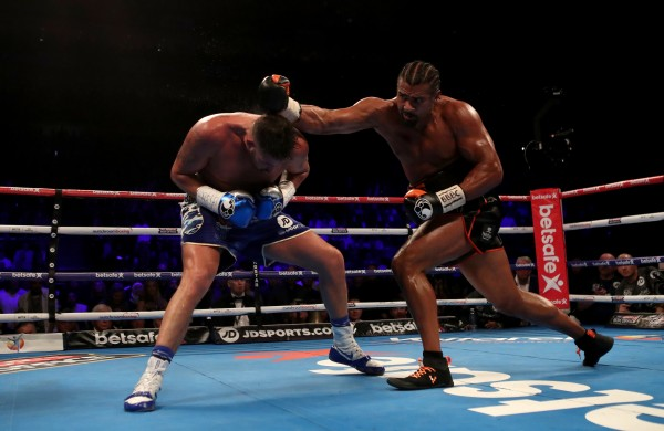 David Haye (right) takes on Tony Bellew during the heavyweight contest at The O2