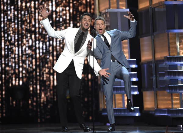 Hosts Luke Bryan, left, and Dierks Bentley (Photo by Chris Pizzello/Invision/AP)