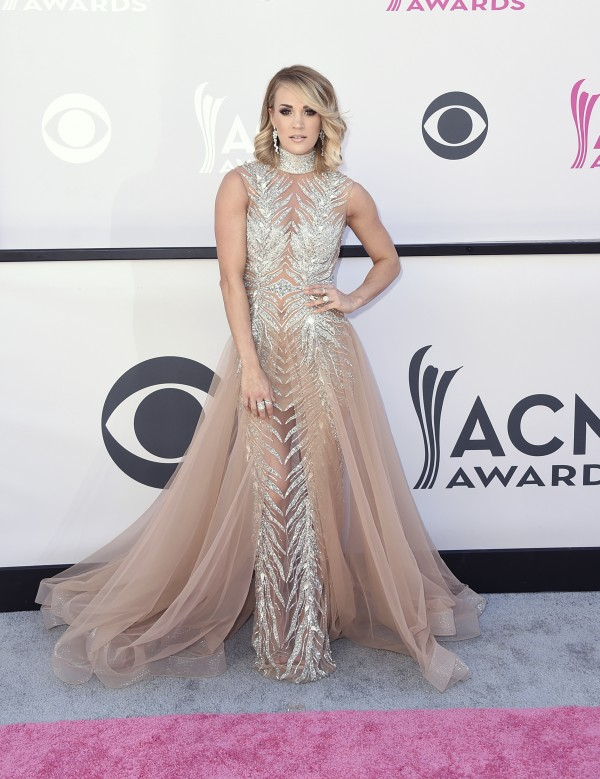 Carrie Underwood arrives at the 52nd annual Academy of Country Music Awards at the T-Mobile Arena on Sunday, April 2, 2017, in Las Vegas. (Photo by Jordan Strauss/Invision/AP)