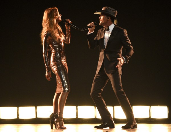 "Faith Hill, left, and Tim McGraw perform ""Speak To A Girl"" at the 52nd annual Academy of Country Music Awards at the T-Mobile Arena on Sunday, April 2, 2017, in Las Vegas. (Photo by Chris Pizzello/Invision/AP)"