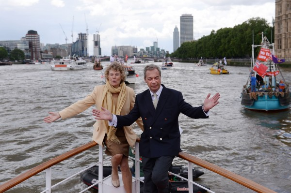 "Ukip leader Nigel Farage and Kate Hoey on board a boat taking part in a Fishing for Leave pro-Brexit ""flotilla"" on the River Thames, London."