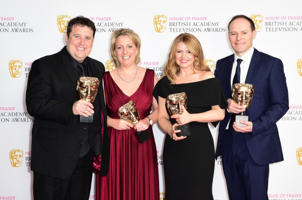 eter Kay, Gill Isles, Sian Gibson and Paul Coleman, winners of the Best Scripted Comedy award for 'Peter Kay's Car Share', in the winners room during the House of Fraser BAFTA TV Awards 2016
