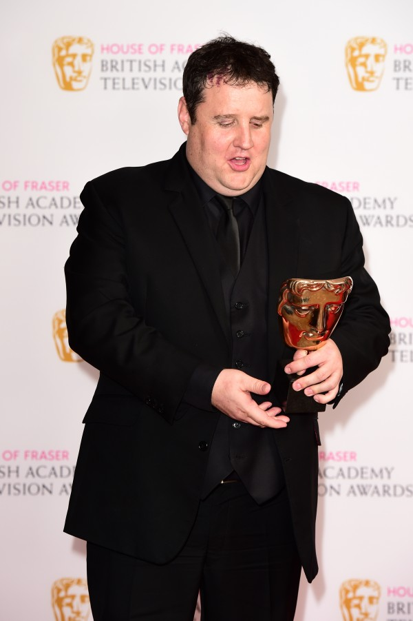 Peter Kay with the award for best male performance in a comedy programme during the House of Fraser BAFTA TV Awards