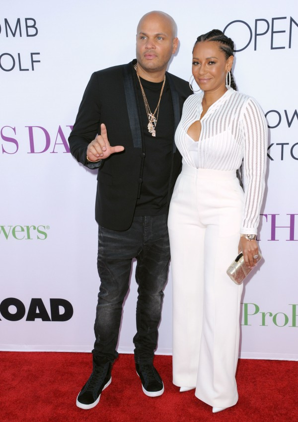 Stephen Belafonte, left, and Melanie Brown last year. (Photo by Richard Shotwell/Invision/AP)