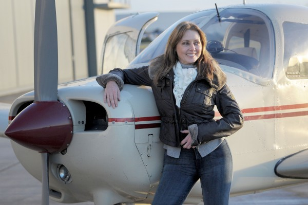 arol Vorderman at the Staverton Flying School at Gloucester Airport after passing her private pilot's licence (PPL) test.