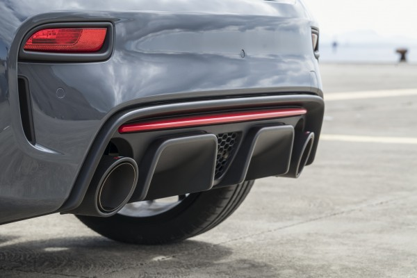 Large exhaust pipes dominate the rear of the Abarth