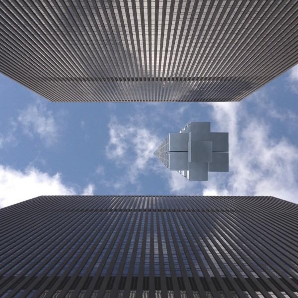 Skyscraper going between skyscrapers