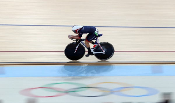 Laura Kenny on her bike in a gold medal-winning race at the Rio Olympics (David Davies/PA)