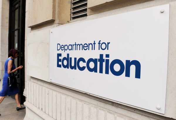 Sign outside the Department for Education in central London.