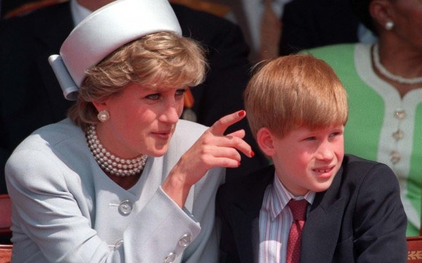 The Princess of Wales with her son Prince Harry