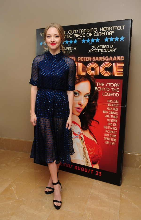 Amanda Seyfried attends a screening of new film Lovelace at the Mayfair Hotel in London