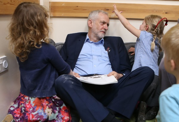 Labour leader Jeremy Corbyn reads with children as he visits Brentry Children Centre