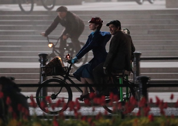 The Girl on the Train actress Emily Blunt filming for Mary Poppins Returns in front of Buckingham Palace (Yui Mok/PA)
