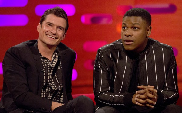 Orlando Bloom and John Boyega during the filming of the Graham Norton Show at The London Studios, to be aired on BBC One on Friday.