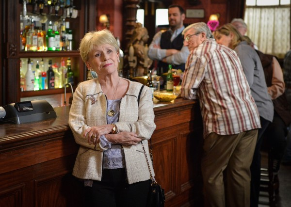Peggy Mitchell says goodbye to the Queen Vic.