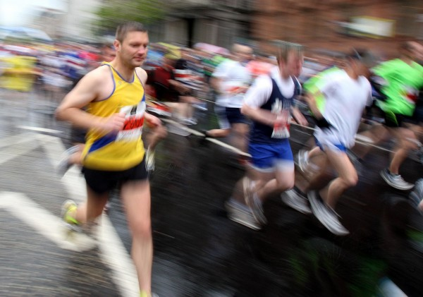 Runners take part in the Belfast City Marathon.