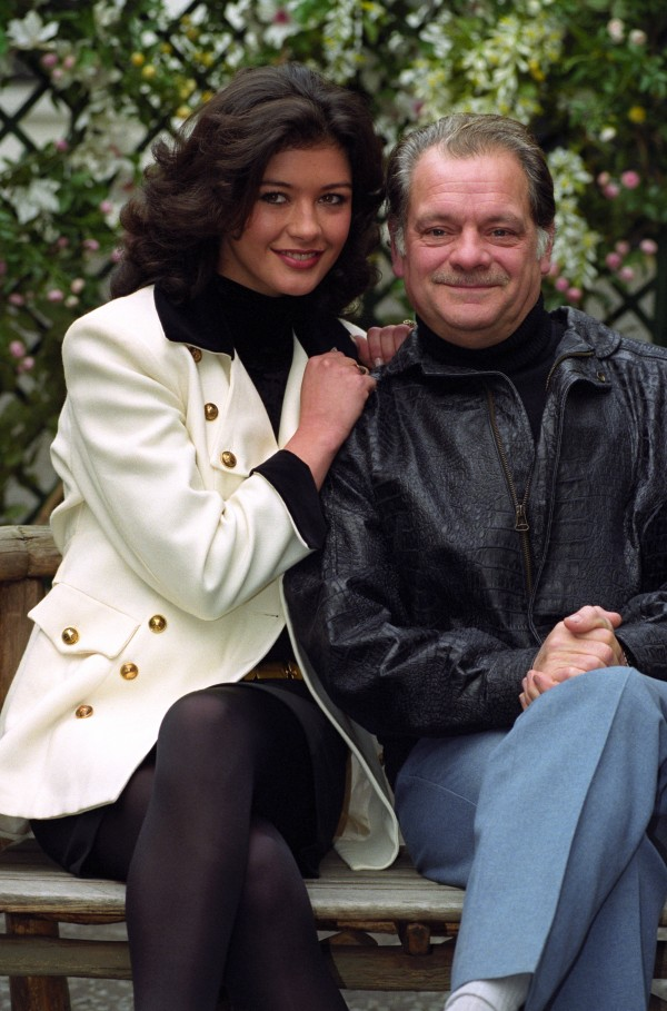 "Catherine Zeta Jones, who plays Mariette, and David Jason who plays ""Pop"" Larkin in 'The Darling Buds of May'"