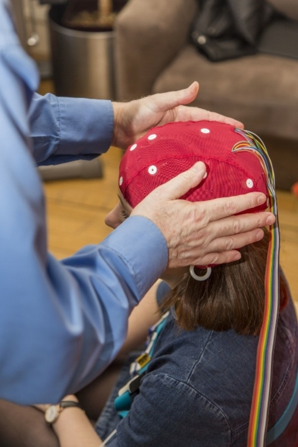 A participant having an EEG cap fitted