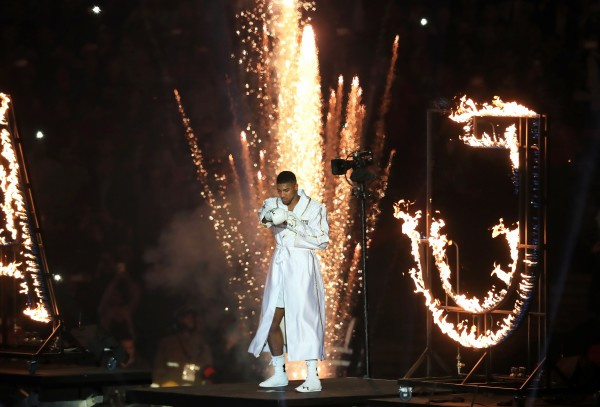 Anthony Joshua on his way to the ring before the main event at Wembley Stadium